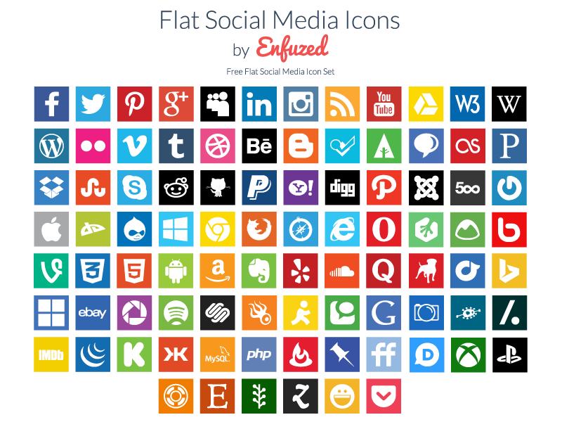 90 Free Flat Social Media Icons by Zac on Dribbble
