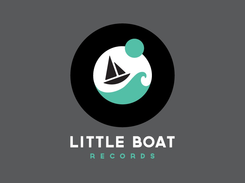 Little Boat Record Label logo icon record label boat wave ocean circle identity teal sailboat illustration