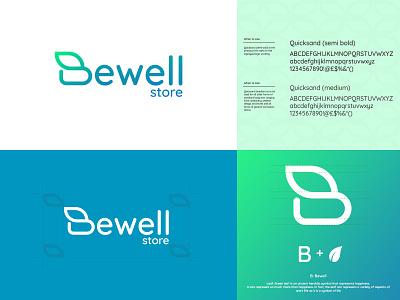 Bewell store Identity flat design vector logo minimal illustration