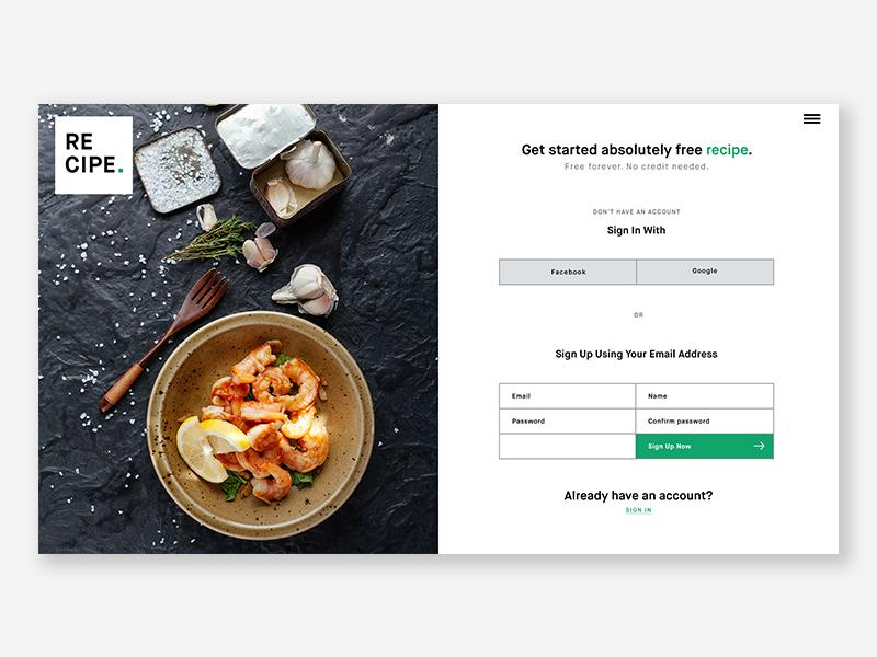 Recipe Sign Up Page landing  page landing ui website signup screen food minimalist web signupform signup
