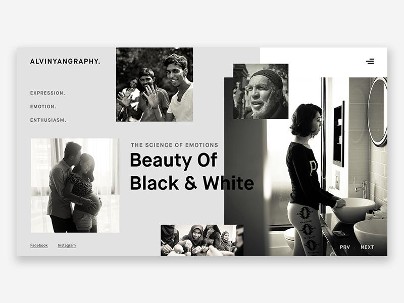 Black & White Landing Page landing photograhy emotion people website minimalist monotone blackandwhite