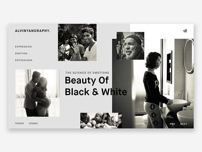 Black & White Landing Page landing photograhy emotion people website minimalist monotone blackandwhite