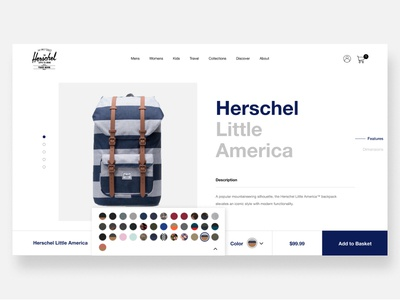 Herschel Product Page productpage onlinestore ecommerce ui design minimalist
