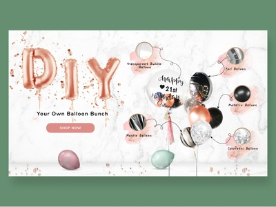 Balloons Concept Screen ui minimalist party birthday diy balloons