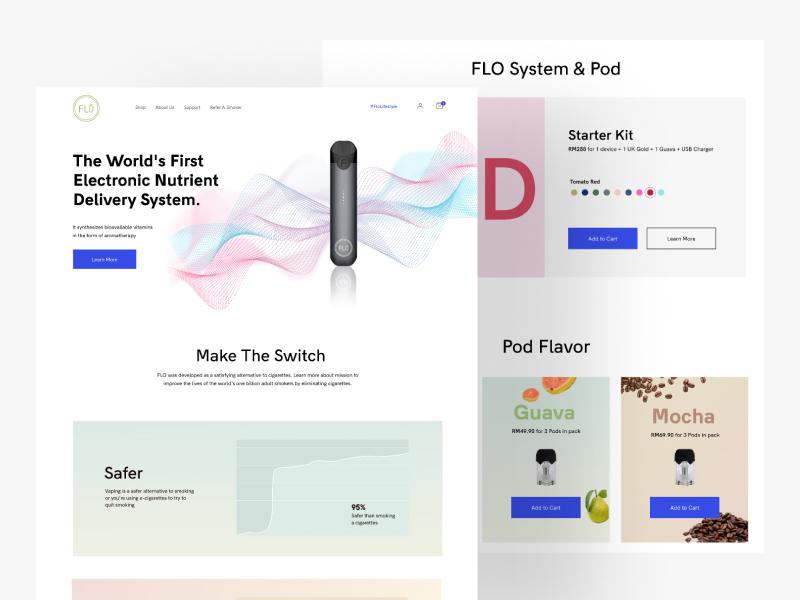 Flo Ecommerce Website Landing Page ui website web e-cigarette minimalist landingpage ecommerce vape