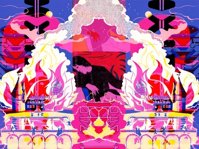 A Substitute Storm, Whistled and Worsted neon colors 80s videogames comics graphic design digital art color collage illustration