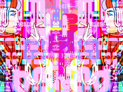 The Certain Same voidz multiverse typography symbols jacks kings mind magic letters languages language illustration symmetry digital art digital collage kanji characters big bold colors art