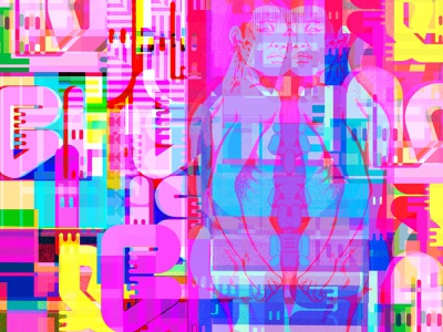 Somewhere in a Head Ahead prismatic mindscape glitchart dreams comics bigboldcolors multiverse characters kanji manga symbols magic numbers letters typography print color collage illustration