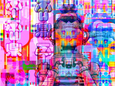 Minuter by the Hour collage robots prismatic multiverse metaphysics manga magic kanji illustration illusion graphicdesign glitchart geometric dribbble dreams comics color arcade 8bit 80s
