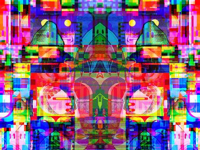 Battle Warhearts Rattle identity transformation dreams dribbble geometric glitchart graphicdesign reality illusion kanji metaphysics multiverse magic symbols letters typography illustration collage bigboldcolor multicolor