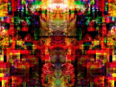 The Glow Ghost of Self art fauna flora collage illustration color print branding flowers plants nature transformation identity illusion glitchart dreams multiverse symbols abstractrealism graphicdesign