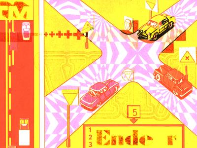 HBR December pop digital type poster play game crash print yellow red auto driverless cars