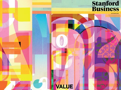 Stanford Business Magazine Cover, Autumn 2018 type identity editorial design editorial art organizations world value stanford business magazine stanford typography color collage illustration