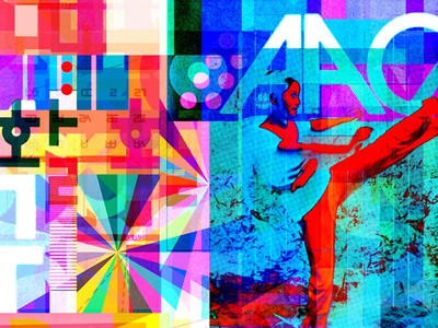 A Slur of Surf Between the Teeth west east abstract kunst yantra geometric modern shape pattern movement numbers letters prism kung fu color illustration collage typography