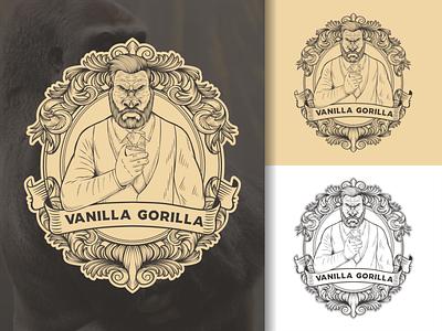 vanilla gorilla vintage logo gorilla logo gorilla vintage animal tshirt illustration vector ilustractor design logo
