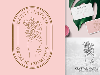 feminine or botanical hand drawn logo line art badge branding vintage tshirt illustration vector ilustractor design logo