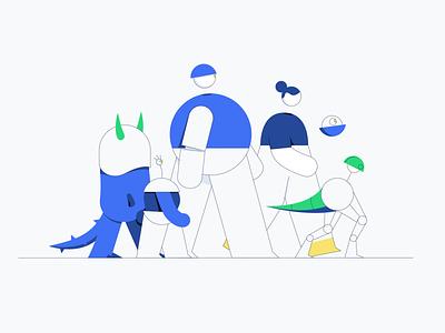 Lisk - Community Facebook Group robots parade adobe ilustrator adobe dribbble blockchain comunity character illustrator branding vector character design design illustration