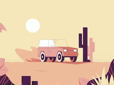 Desert Ride cactus textures photoshop dribble shot dribbble adobe desert car illustrator illustration