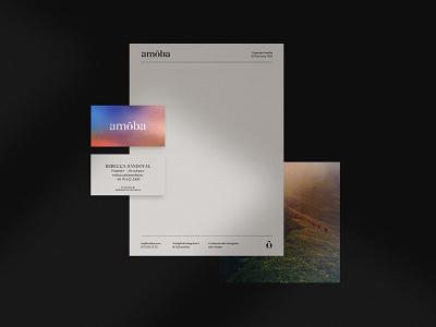 Amöba branding developer flatlay layout letterpaper cards business cards most studios brand guidelines brand identity typography identity branding