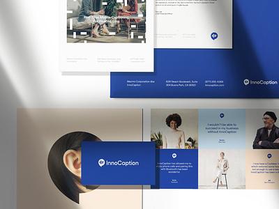 Innocaption branding business cards logodesign innocaption startup flatlay logo brand identity most most studios identity design branding