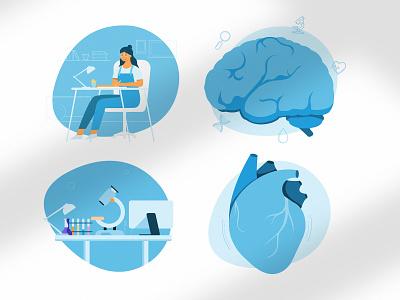 Medical illustrations medicine vector most studios most blue illustration art brain heart medical illustrations design branding