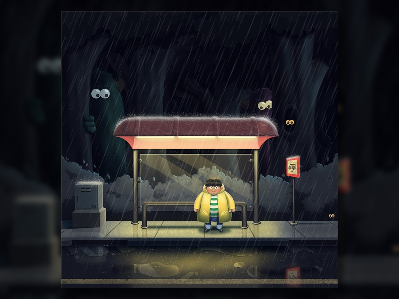 Scared to be lonely night rainy alone bus stop mosters character design cartoon character funny visualisation digital art photoshop creative illustration