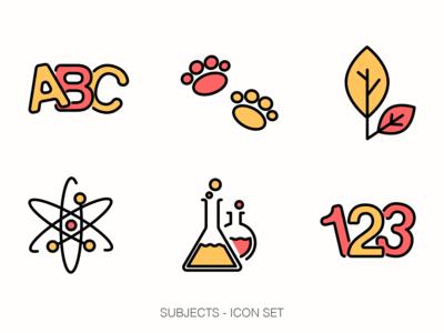 Subjects Icon set