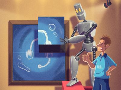 Factors that will make Or break Customer Support helper bot robot ai artificialintelligence visualisation cartoon character digital art blog cover creative photoshop freshdesk illustration