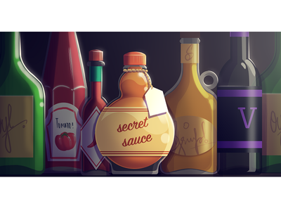 The Secret Sauce sauce ingredient mystery secret kitchen bottles glass digital art blog cover visualisation graphic design photoshop creative freshdesk illustration