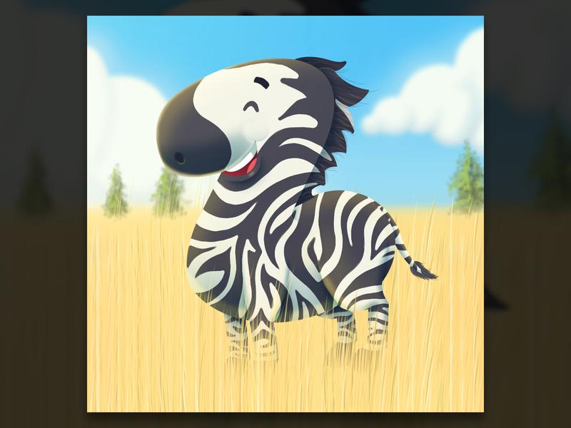 Z 36 days of type zebra funny savanna grassland character cartoon visualisation digital art photoshop creative illustration