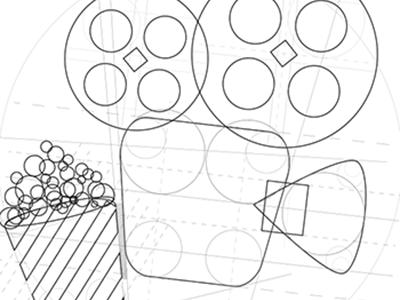 Pictogram \ Vectorial structure icon cinema pop corn pictogram vector e-commerce