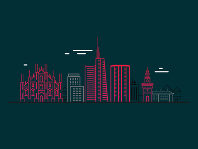 Milan - Skyline building italy monument icon outline vector city illustration