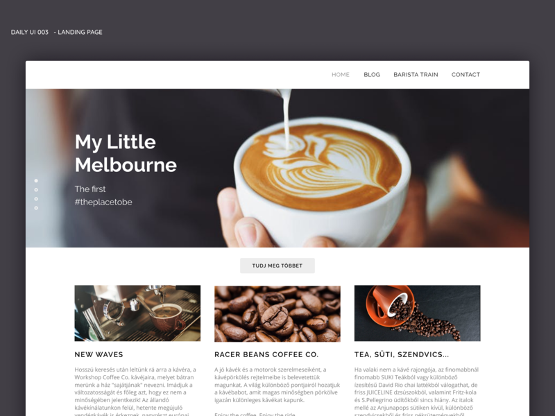 Daily UI - Landing page coffee bar coffee branding design vector web typography dailyui logo ux daily 100 challenge daily 100 ui