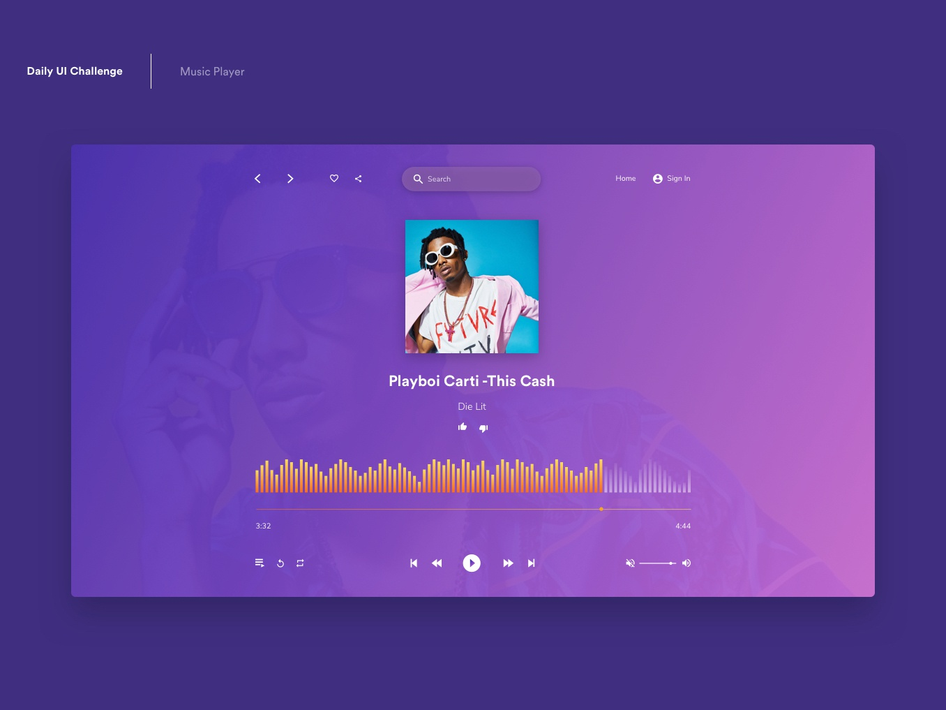 Daily Ui - Music Player music player ui music player brand website flat web illustration icon ux app dailyui daily 100 challenge daily 100 ui branding vector design