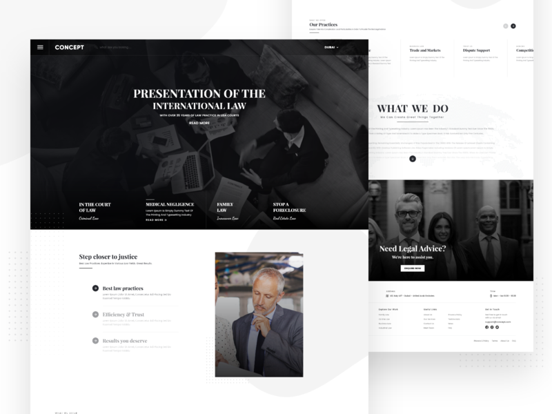Concept Law Firm Website Design - Dubai dribbble ui design uidesign ux design ui concept home screen dubai lawyer corporate landing page mockup homepage design law firm