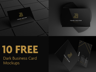 10 Dark Business Card Mockups Free PSD