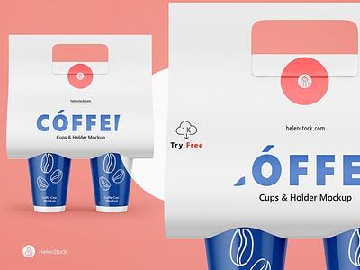 Coffee Cups and Holder Mockups Free Sample cups mockup freebies