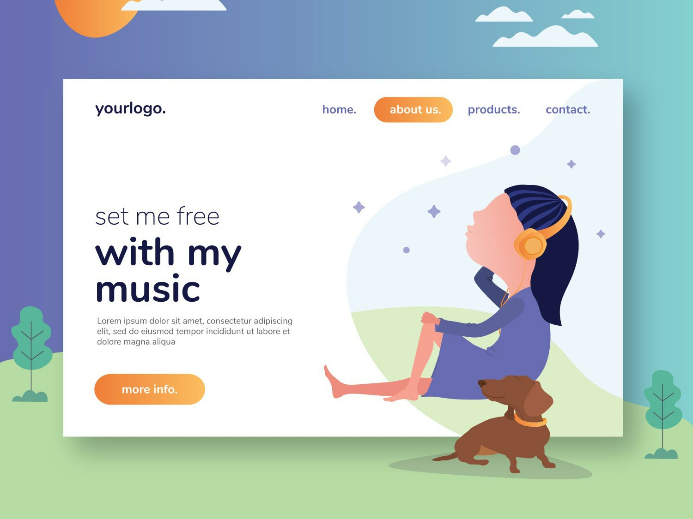 My Music Flat Design Web Free Vector web ux design illustration