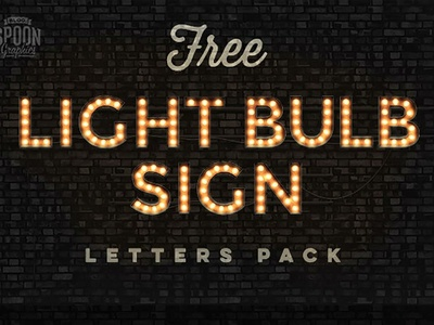 Free* Realistic Vintage Light Bulb Sign Letters graphic font letters freebies