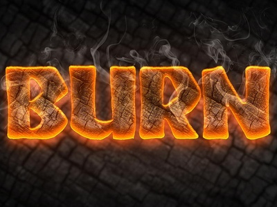 Free Burn Text Style PSD