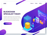 Blockchain Landing Page in Illustration by Pencilio