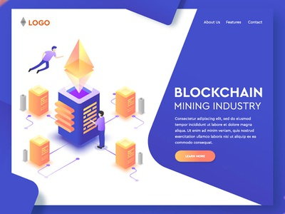 Blockchain Landing Page Free Vector