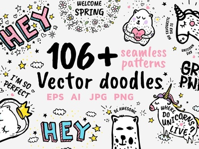 3 Doodle Free Sample Vector