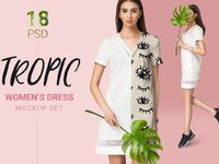 Woman dress mockup set with fashion model photography with realistic tropic leaf 1