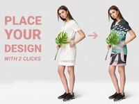 Woman apparel mockup set with fashion model photography with realistic tropic leaf