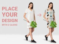 Woman dress mockup set place your design with two clicks fashion model photography with realistic tr