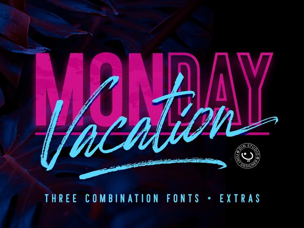 Monday Vacation Font Sample font design font freebies