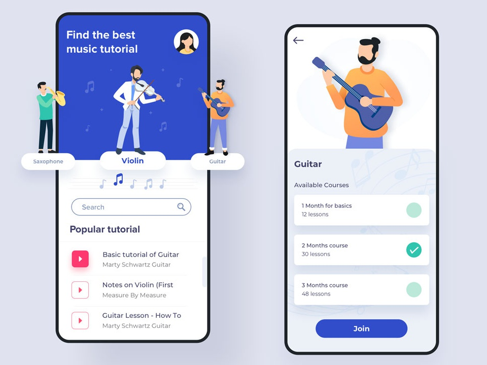 Music tutorial app [Sketch] by Grapbox™ on Dribbble