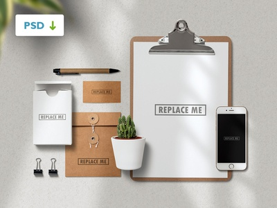 Stationery with Clipboard Mockup