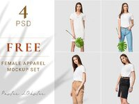Female apparel mockup set with tropic leaves for commercial presentation pattern designs   1